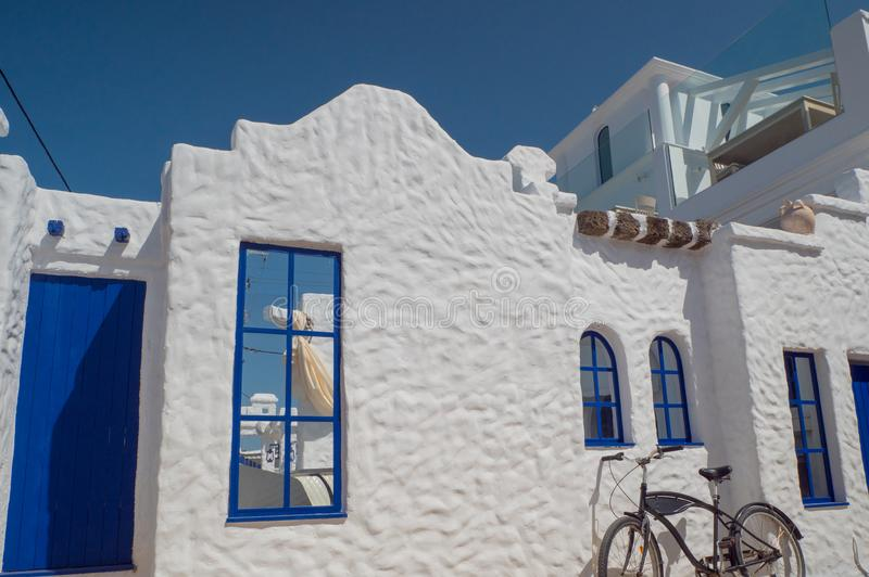 Santorini style building white and blue colors stock photo