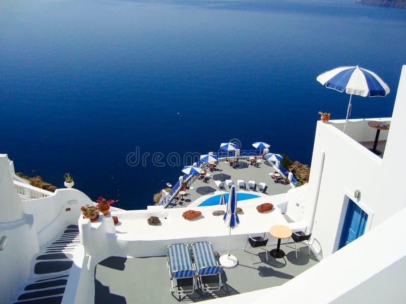 Santorini summer. Summer view of romantic balcony Oia, Santorini, Greece royalty free stock photo