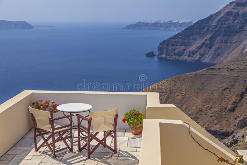 Santorini sun terrace. Image of a small sun terrace. Santorini, greece stock photo