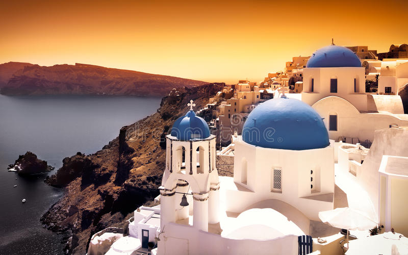Santorini Sunset royalty free stock photo