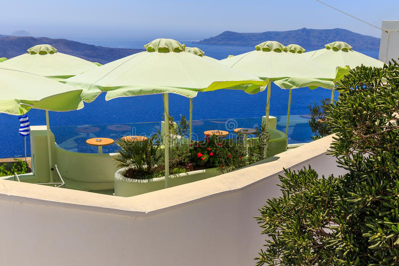 Santorini terrace restaurant I. royalty free stock photography