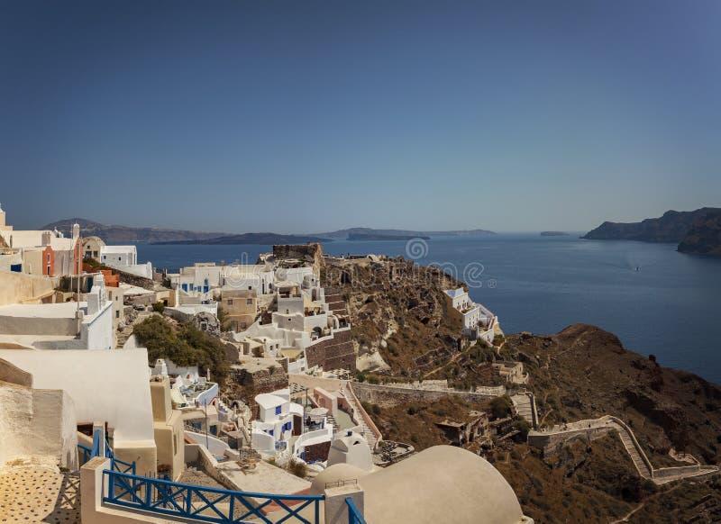 Santorini terraced houses stock image