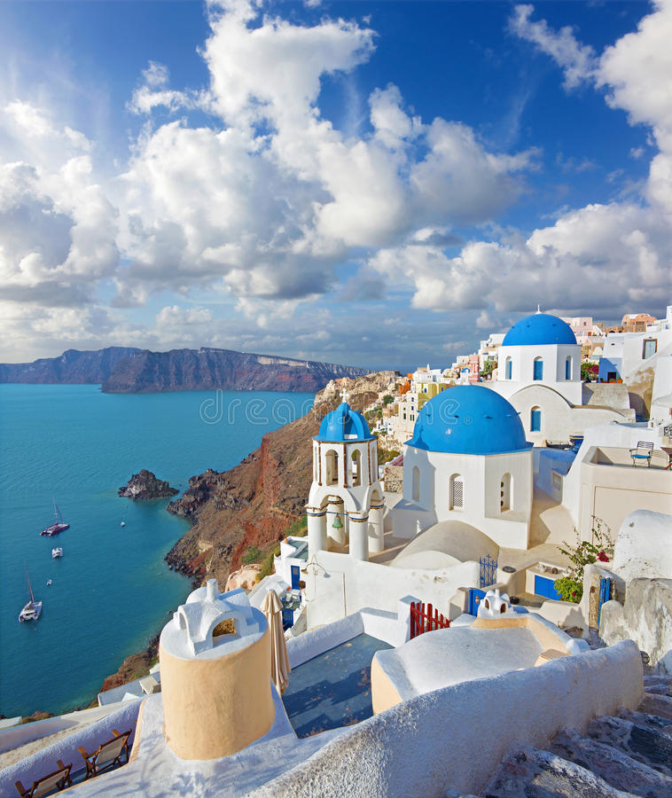 Free Santorini - The Look To Typically Blue Church Cupolas In Oia Over The Caldera Royalty Free Stock Photos - 67775138