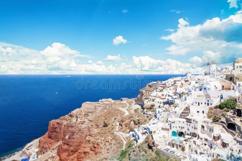 Santorini town and caldera. Beautiful Greece landscape.  royalty free stock photos