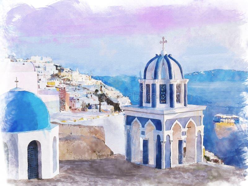 Santorini vattenfärg royaltyfri illustrationer
