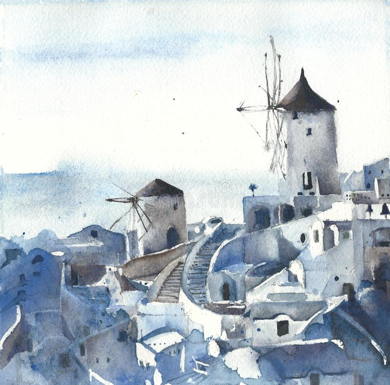 Santorini view island of Greece watercolor painting stock illustration
