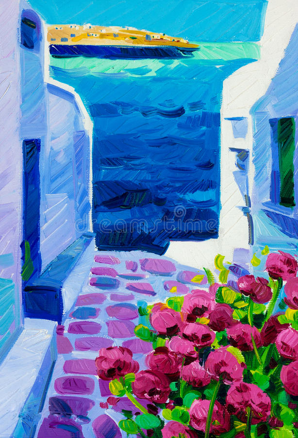 Greece White Houses Blue Roofs Artist Painting