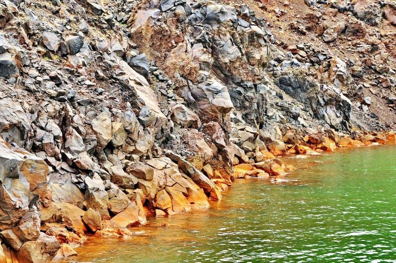 Santorini Volcano Sulfur Water royaltyfri foto