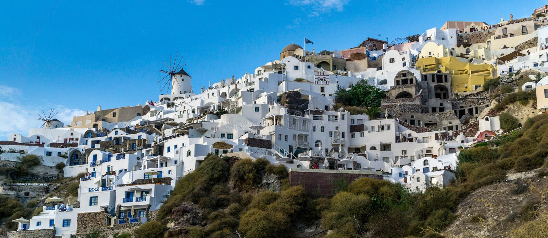 Santorini wiatraczek obraz stock