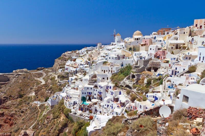 Santorini Wyspa Grodzka Oia Architektura Fotografia Royalty Free