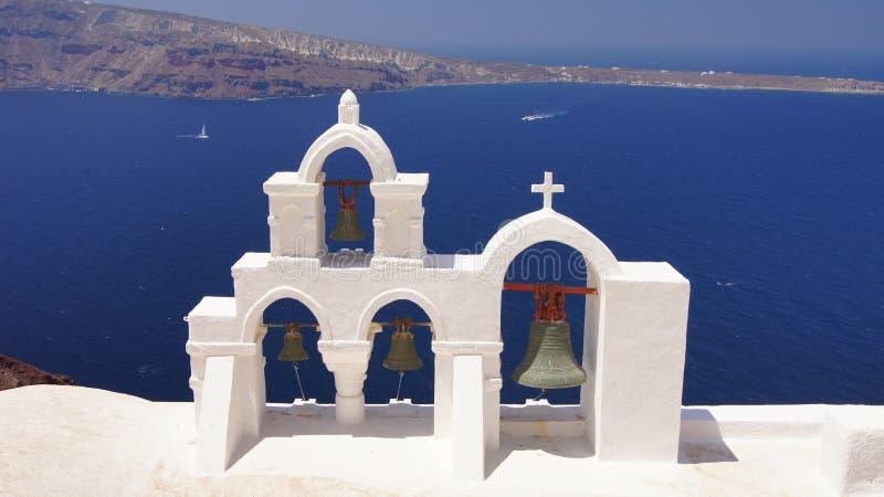 Santorini wyspy Greece morze i niebieskie niebo obraz royalty free