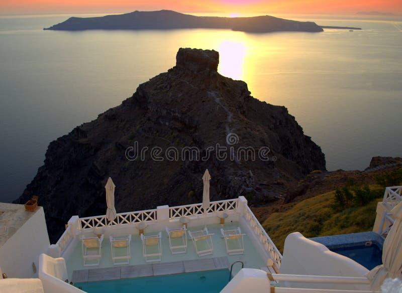 Santorini zmierzchu scena zdjęcia royalty free