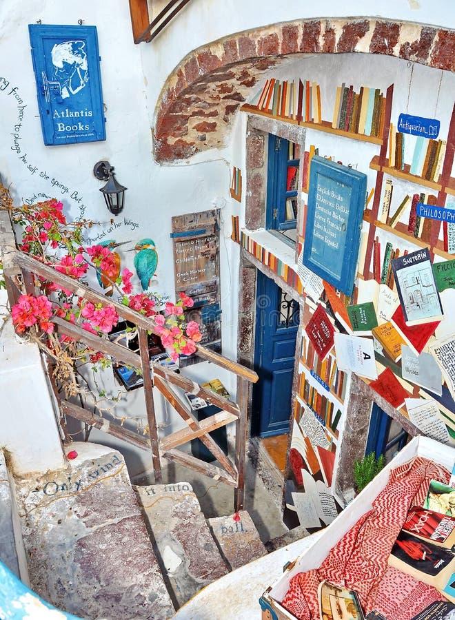 Santorinibibliotheek stock foto's
