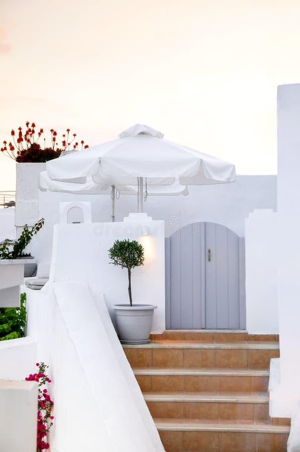 Santorinieiland, Griekenland, Egeïsche overzees, Europa Details van traditionele cycladic architectuur, één van de mooiste reis stock fotografie