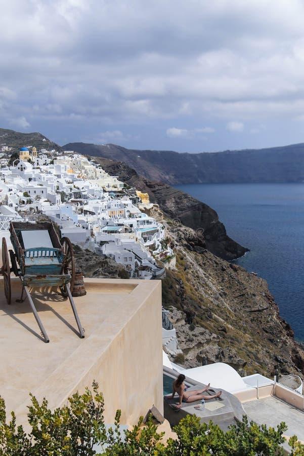 Santorinioriëntatiepunt royalty-vrije stock afbeelding