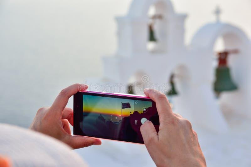 Santorinireiziger royalty-vrije stock foto