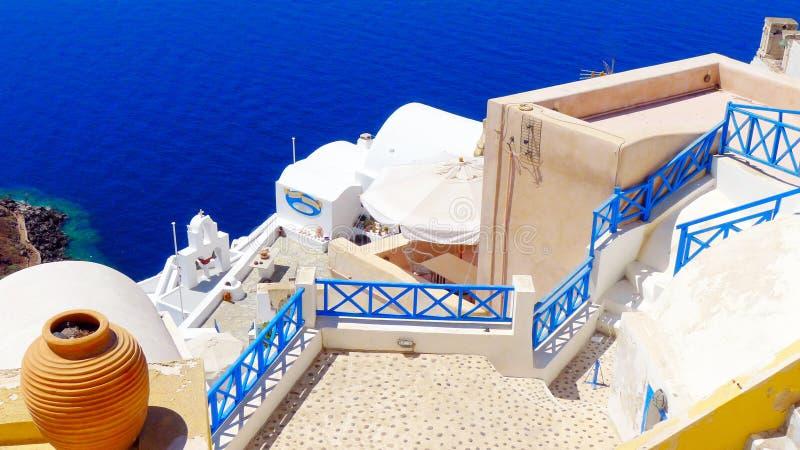 Santorinizonsondergang royalty-vrije stock foto's