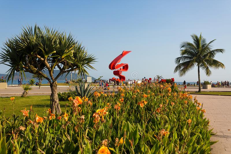 Santos Beach Brasilien arkivbilder