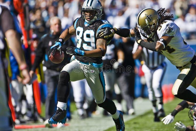 Santos del NFL New Orleans contra las panteras de Carolina foto de archivo libre de regalías