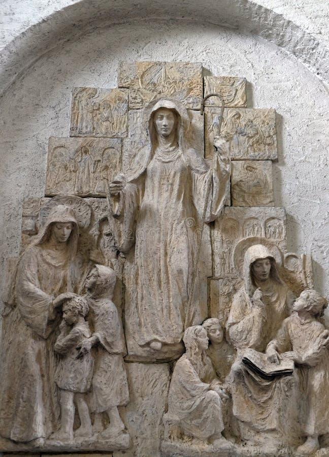 Santos Lioba de Tauberbischofsheim, de Walburga de Heidenheim y de Thekla de Kitzingen imágenes de archivo libres de regalías