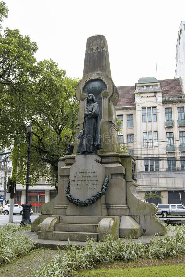 Monument at Rui Barbosa square, Santos SP. Santos - SP, Brazil - November 18, 2019: Monument to Bartolomeu Lourenco de Gusmao, known as the flying priest at Rui stock images