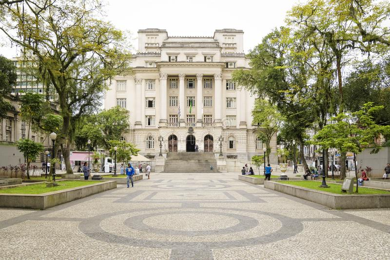 Prefecture of Santos at Maua Square. Santos - SP, Brazil - November 18, 2019: Prefecture of Santos at Maua Square, historic center of the city. Municipal city royalty free stock photos