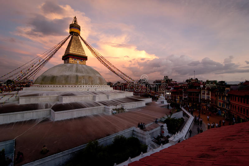 Santuário budista Boudhanath Stupa. Nepal, Kathmandu fotos de stock