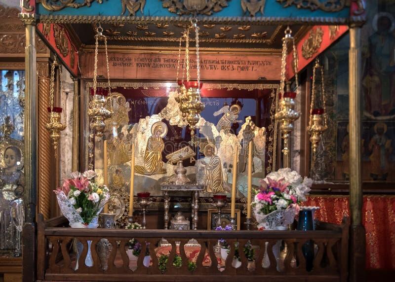 Santuário da natividade na igreja da natividade, Bethlehem fotografia de stock