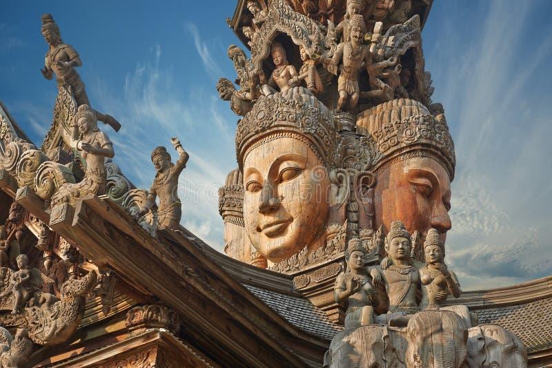 Santuário da verdade, Pattaya, Tailândia fotos de stock royalty free
