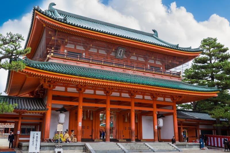 Santuário de Heian-jingu em Kyoto fotos de stock royalty free