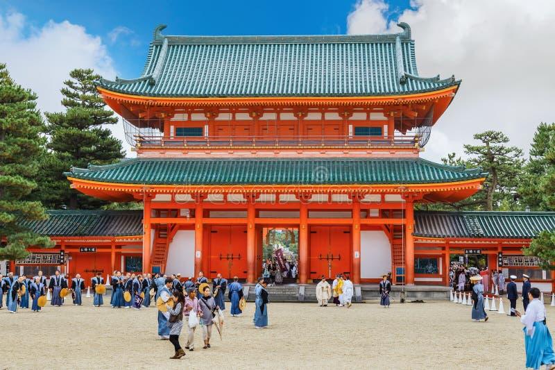 Santuário de Heian Jingu em Kyoto, Japão imagem de stock royalty free
