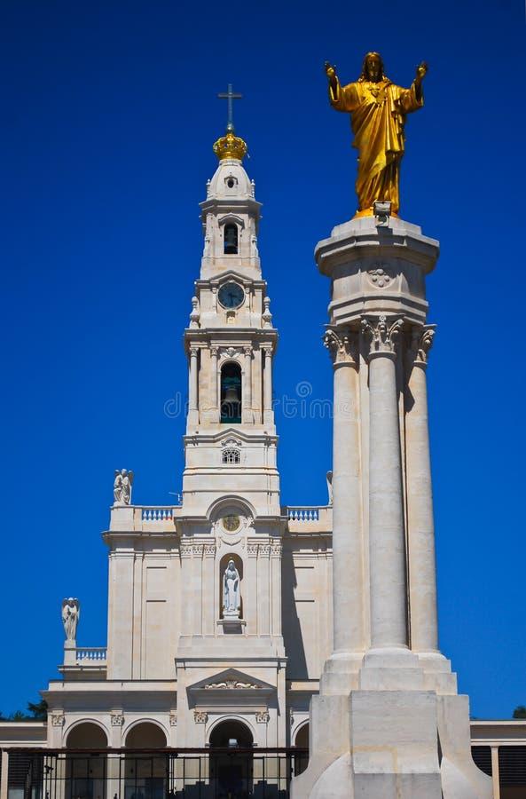 Santuário de nossa senhora da estátua de Fatima e de Jesus imagens de stock royalty free