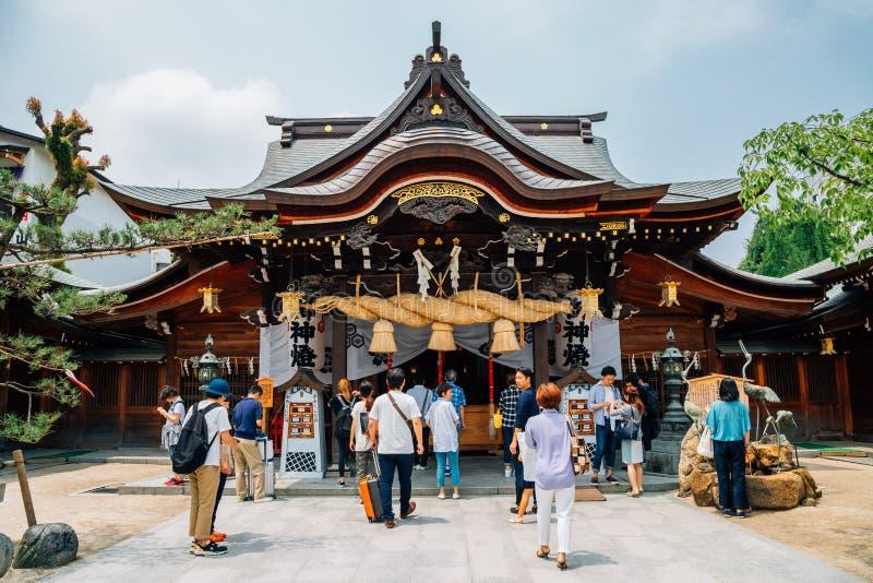Santuário japonês de Kushida-jinja em Fukuoka, Japão imagens de stock royalty free