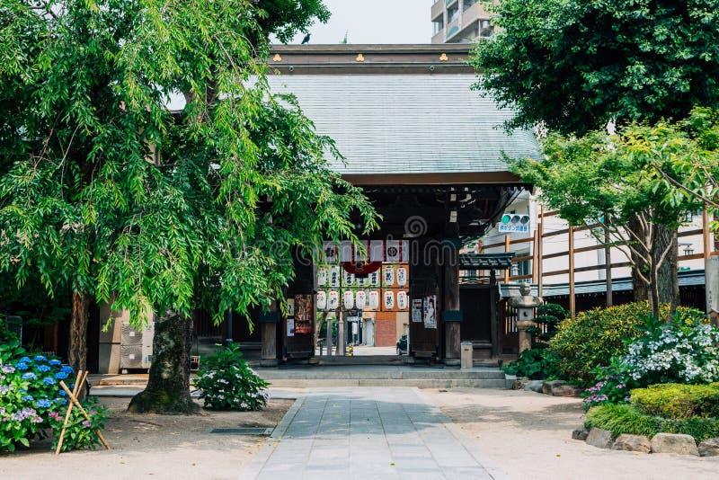 Santuário japonês de Kushida-jinja em Fukuoka, Japão foto de stock