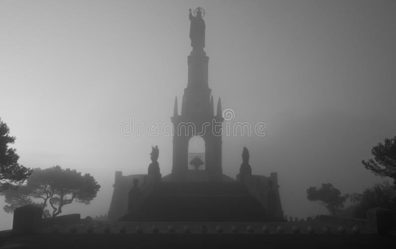 Santuari De salvador sant, matin brumeux, froid, brumeux d'hiver, Felanitx, Majorque, Espagne image stock
