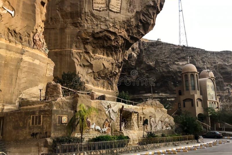 Santuari del cristiano nell'Egitto Bassorilievi di storia biblica fotografia stock libera da diritti