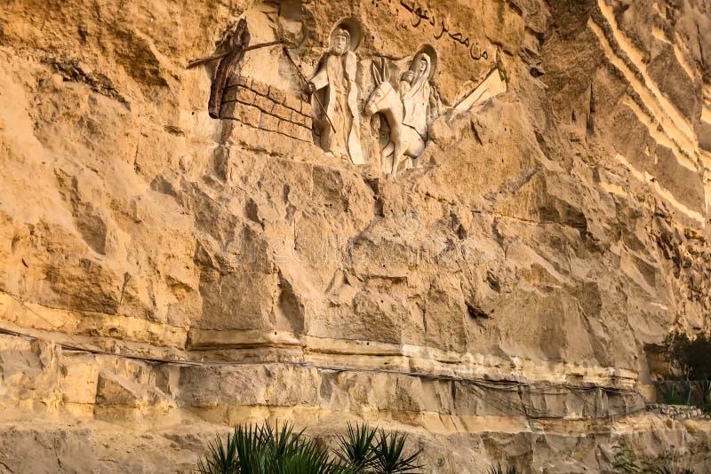 Santuari del cristiano nell'Egitto Bassorilievi di storia biblica fotografia stock