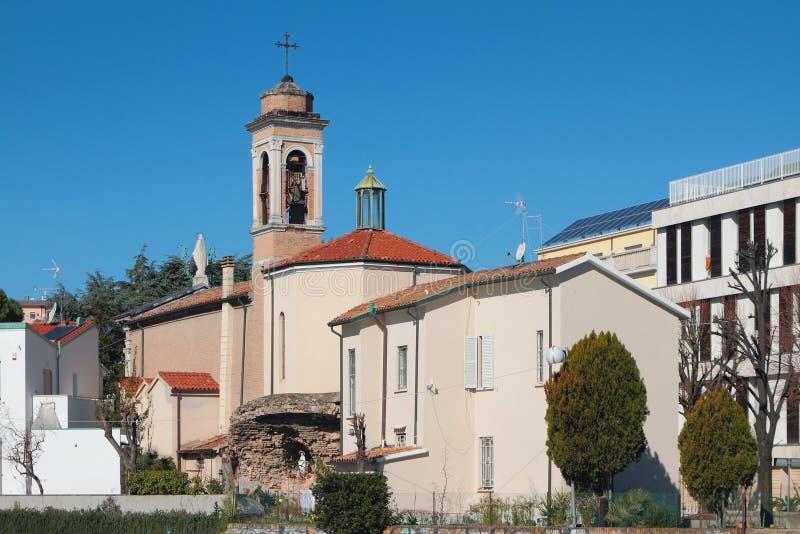 Santuario玛丹娜della斯卡拉罗马天主教堂  圣朱利亚诺,里米尼,意大利 免版税库存图片
