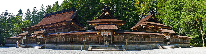 Santuario antico di Kumano Hongu Taisha di vista panoramica grande in Wakayama, Giappone immagine stock