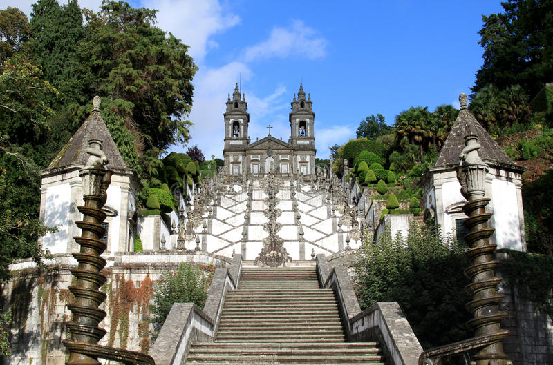 Santuario Bom Jesus do Monte near Braga, Portugal. The Santuario Bom Jesus do Monte (Shrine of Good Jesus of the Mountain) is a hilltop Catholic pilgrimage site royalty free stock photo