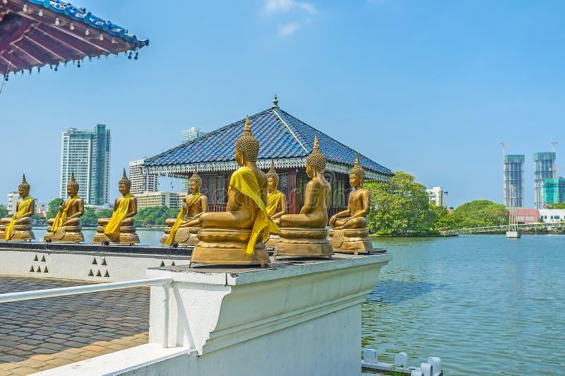 Santuario buddista sul lago beira a Colombo fotografie stock libere da diritti