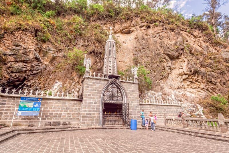 Santuario de Las Lajas, Gray Stone neogótico, Colombia foto de archivo