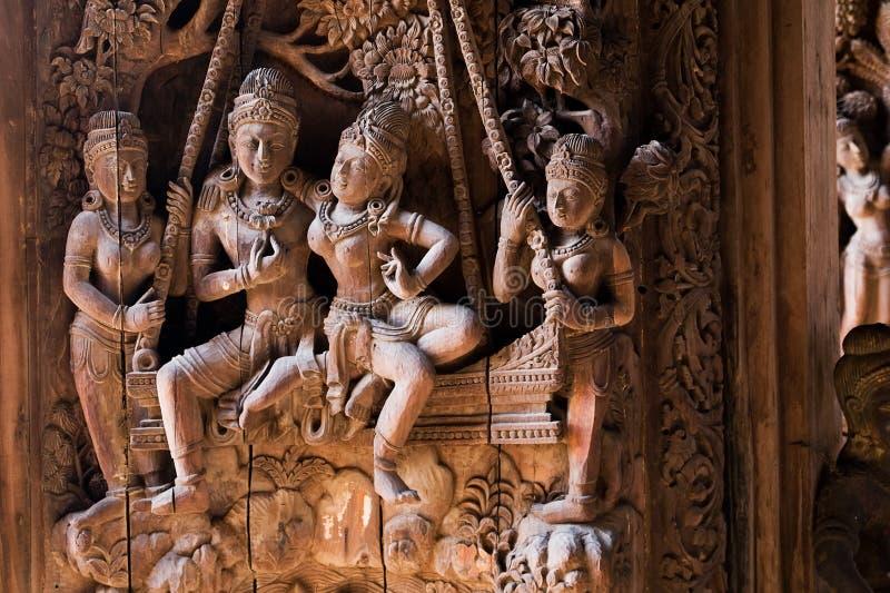 Santuario de madera de Pattaya de la escultura de la verdad Thaila fotos de archivo libres de regalías