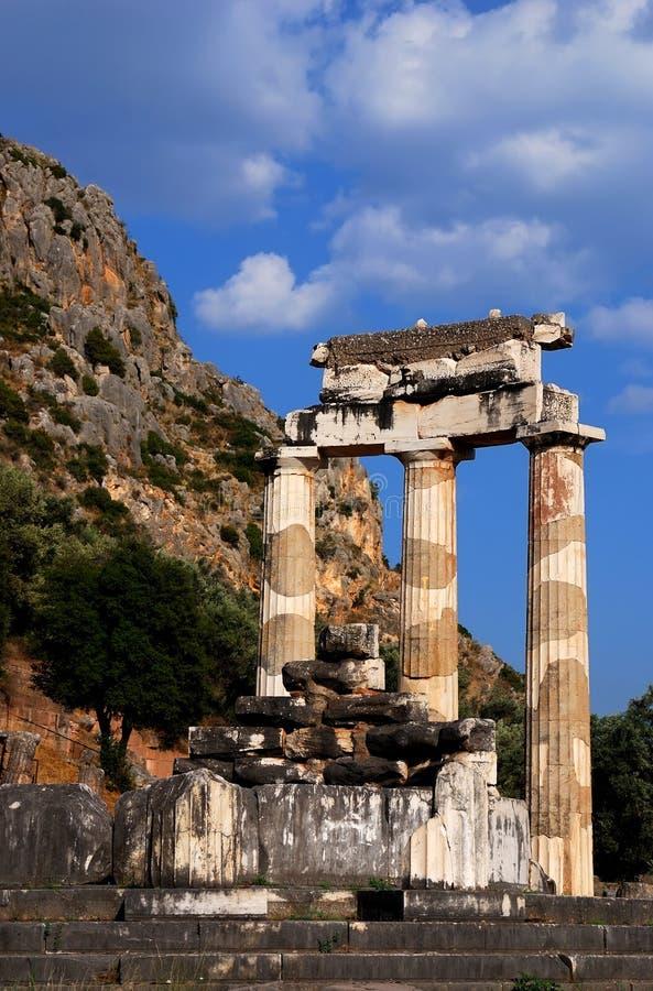 Santuario del Athena Pronaia a Delfi, Grecia immagine stock libera da diritti