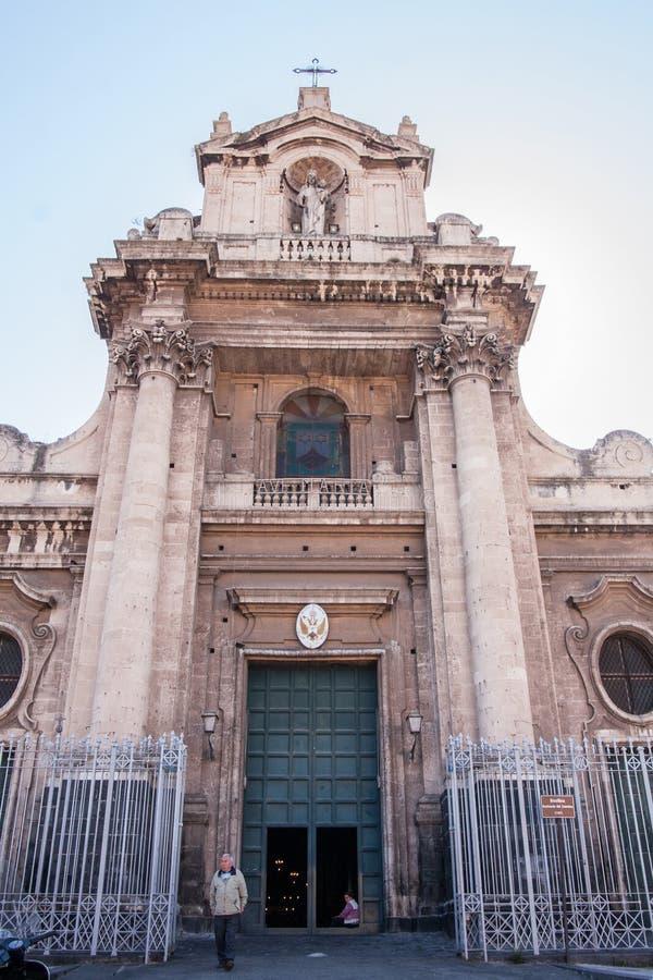 Santuario della玛丹娜del Carmine教会,卡塔尼亚,西西里岛,意大利 免版税库存图片