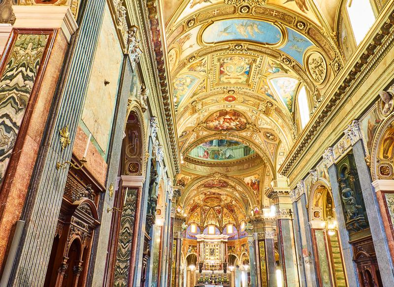 Santuario della Beata Vergine del Rosario. Pompei, Italy. Nave of Santuario della Beata Vergine del Rosario & x28;Sanctuary of the Madonna of the Rosary& x29 stock photos