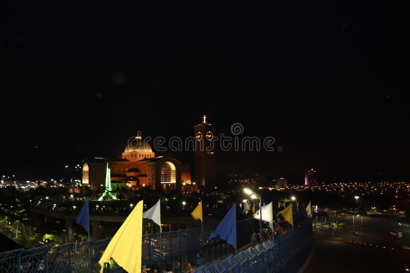 Santuario di Aparecida la notte fotografia stock