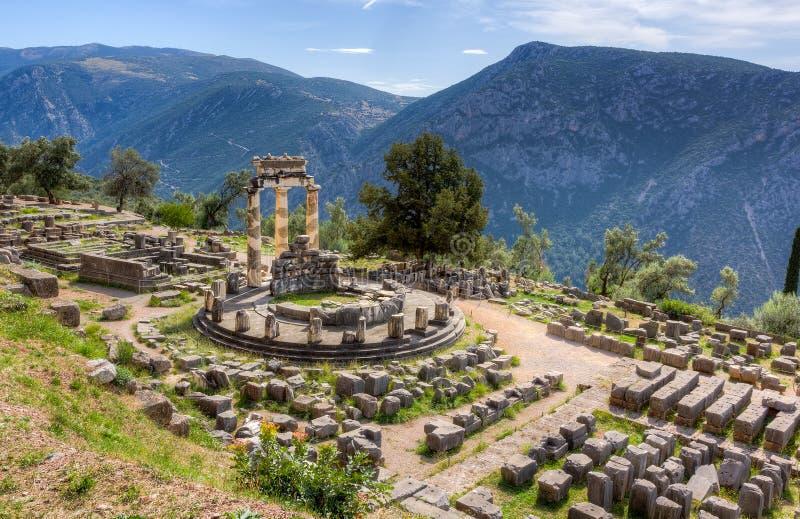 Santuario di Athena Pronaia, Delfi, Grecia fotografie stock libere da diritti