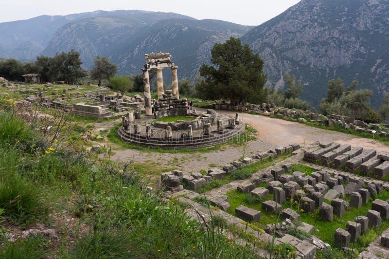 Santuario di Athena Pronaia, Delfi, Grecia immagini stock