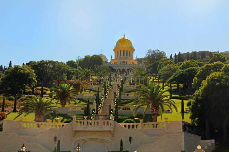 Santuario di Bab e dei suoi giardini in Haifa Israel fotografie stock libere da diritti